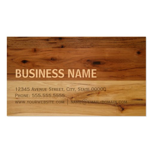 Dark and Light Wood Grain Look Business Card (back side)