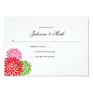 "Dark and Pale Pink Lime Green Flower Petals RSVP 3.5"" X 5"" Invitation Card"