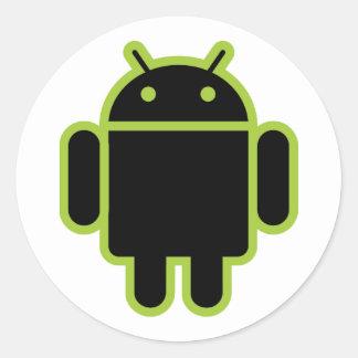 Dark Android Round Stickers