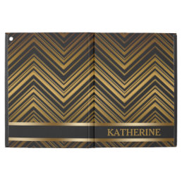 "Dark Antique Gold Chevron Pattern iPad Pro 12.9"" Case"
