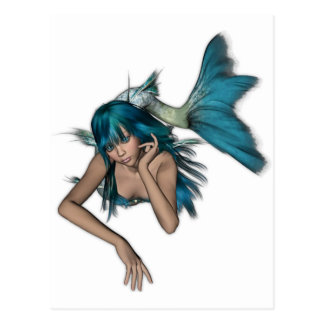 Dark Aqua Blue 3D Mermaid Postcard