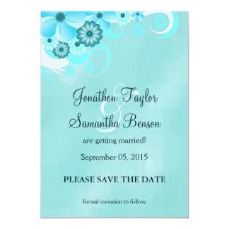 Dark Aqua Blue Floral Save The Date Announcements