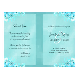 Dark Aqua Blue Floral Teal Bi-Fold Wedding Program