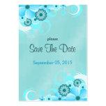 Dark Aqua Blue Floral Wedding Mini Save The Dates Large Business Card