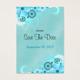 Dark Aqua Blue Floral Wedding Mini Save The Dates Large Business Card