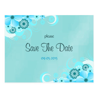 Dark Aqua Blue Floral Wedding Save The Date Cards