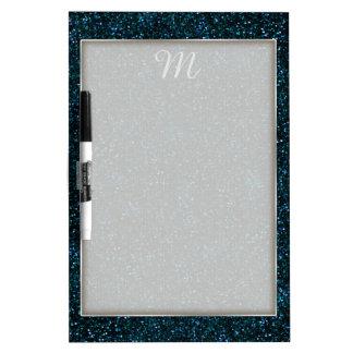 Dark Aqua Blue Glitter Dry-Erase Board