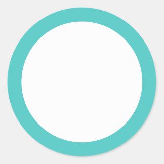 Dark aqua blue solid color border blank classic round sticker