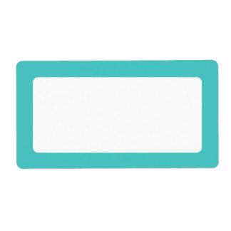 Dark aqua blue solid color border blank custom shipping labels