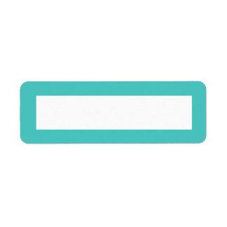Dark aqua blue solid color border blank label