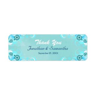 Dark Aqua Blue Teal Floral Small Wedding Favor Label