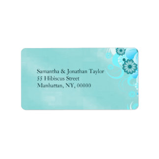 Dark Aqua Deep Sea Blue Floral Hibiscus Wedding Label