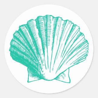 Dark Aqua Sea Shell Sticker