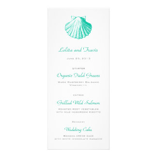 Dark Aqua Sea Shell Wedding Menu Card Announcements