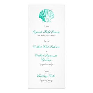 Dark Aqua Seashell Wedding Reception Dinner Menu Custom Invitation