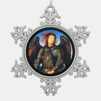 Dark Archangel Michael Snowflake Pewter Christmas Ornament
