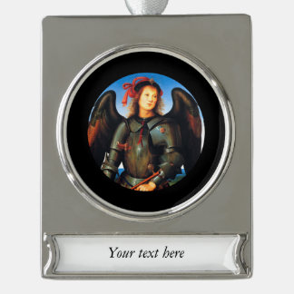 Dark Archangel Michael Silver Plated Banner Ornament