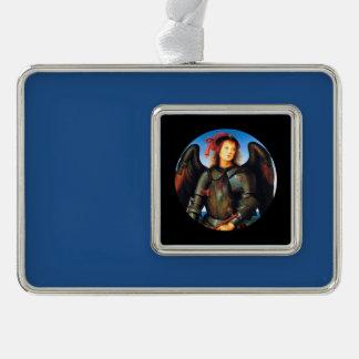 Dark Archangel Michael Silver Plated Framed Ornament