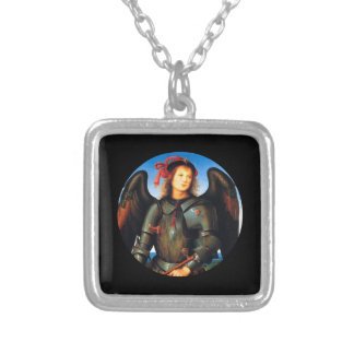 Dark Archangel Michael Silver Plated Necklace