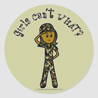 Dark Army Woman Classic Round Sticker