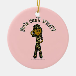 Dark Army Woman Double-Sided Ceramic Round Christmas Ornament