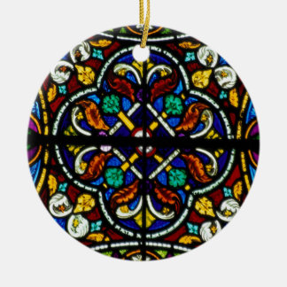 Dark artistic stained glass Double-Sided ceramic round christmas ornament