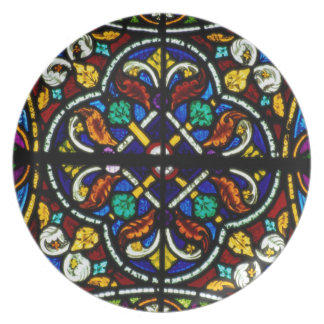 Dark artistic stained glass dinner plate