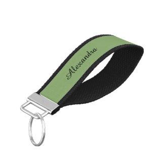 Dark Asparagus Solid Color Wrist Keychain