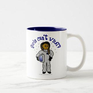 Dark Astronaut Girl Two-Tone Coffee Mug