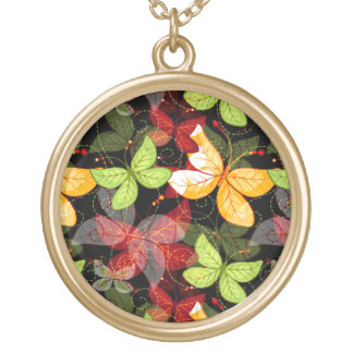 Dark Autumn Pattern Gold Plated Necklace