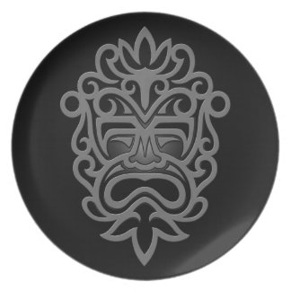 Dark Aztec Mask Melamine Plate