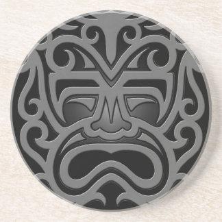 Dark Aztec Mask Sandstone Coaster