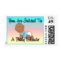 Dark Baby Boy Shower Stamp