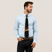 Dark Background w/Piano Keyboard in Flames Neck Tie