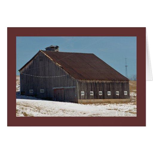"Dark Barn w White Windows on the ""National Pike"" Greeting Card"