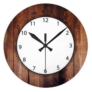 Dark Barn Wood Large Clock