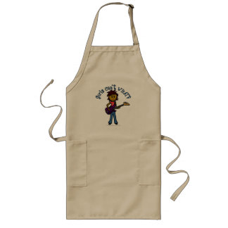 Dark Bass Guitar Girl Long Apron