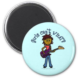 Dark Bass Guitar Girl Magnet