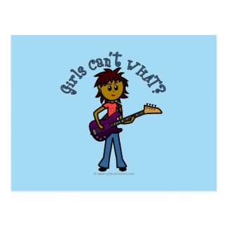 Dark Bass Guitar Girl Postcard