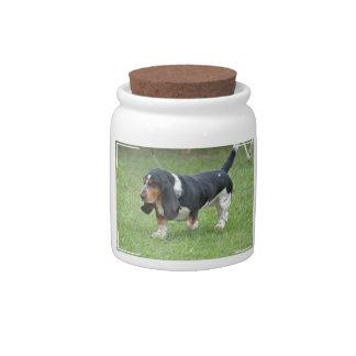 Dark Basset Hound Dog Candy Jars