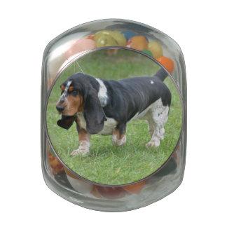 Dark Basset Hound Dog Jelly Belly Candy Jars