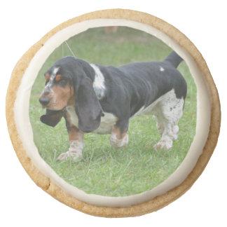 Dark Basset Hound Dog Round Premium Shortbread Cookie