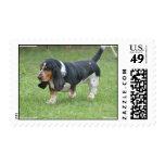 Dark Basset Hound Dog Stamp