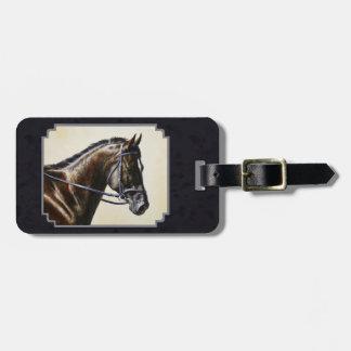 Dark Bay Dressage Horse Blue-black Bag Tag