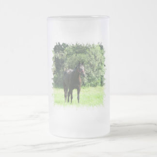 Dark Bay Horse Frosted Beer Mug