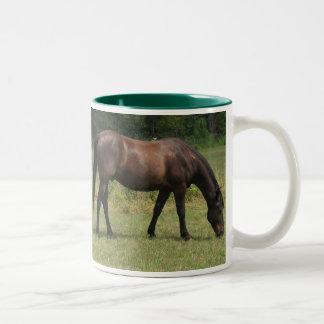 Dark Bay Horse Grazing in Pasture Mug