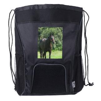 Dark Bay Horse Drawstring Backpack
