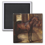 Dark Bay Horse in the stable 2 Inch Square Magnet