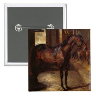 Dark Bay Horse in the stable Pinback Button