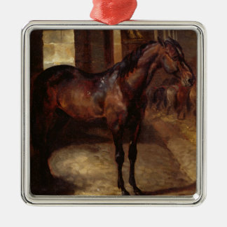 Dark Bay Horse in the stable Square Metal Christmas Ornament